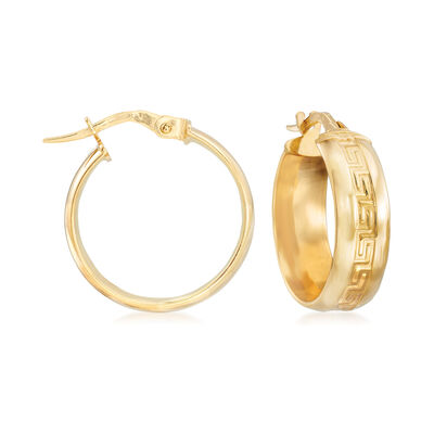 Italian Greek Key Hoop Earrings in 14kt Yellow Gold