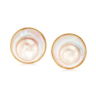 C. 1980 Vintage Cultured Blister Pearl Earrings in 14kt Yellow Gold, , default