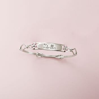 Child's Sterling Silver Name ID Bracelet With Enamel Flowers, , default