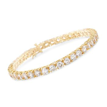 12.00 ct. t.w. CZ Tennis Bracelet in 14kt Gold Over Sterling, , default