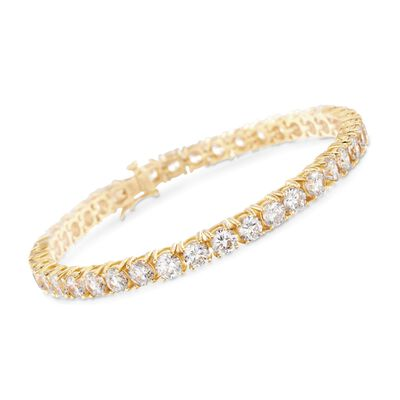 12.00 ct. t.w. CZ Tennis Bracelet in 14kt Gold Over Sterling, , default