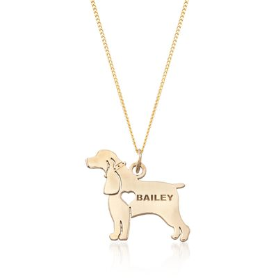 18kt Yellow Gold Over Sterling Silver Cocker Spaniel Name Pendant Necklace, , default