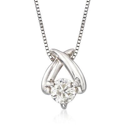 C. 1990 Vintage .25 Carat Diamond X Pendant Necklace in 14kt White Gold, , default