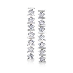 1.40 ct. t.w. CZ Linear Earrings in Sterling Silver, , default