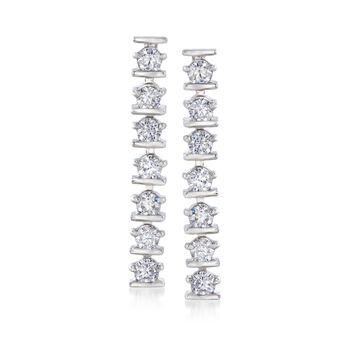 1.40 ct. t.w. CZ Linear Earrings in Sterling Silver, , default