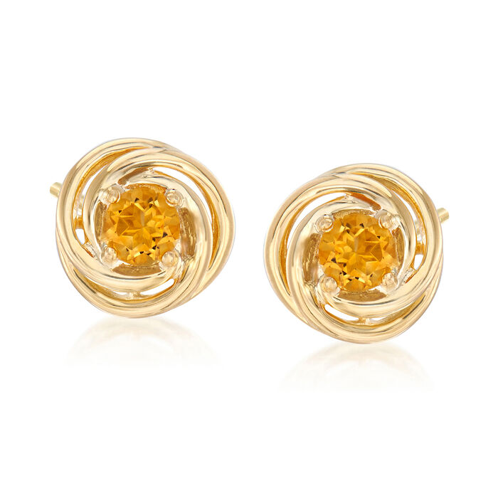 1.00 ct. t.w. Citrine Love Knot Earrings in 18kt Gold Over Sterling Silver, , default
