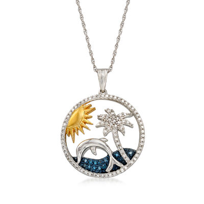.34 ct. t.w. Blue and White Diamond Tropical Pendant Necklace in Sterling Silver and 18kt Gold Over Sterling, , default