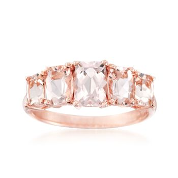 2.40 ct. t.w. Morganite Five-Stone Ring in 14kt Rose Gold Over Sterling, , default