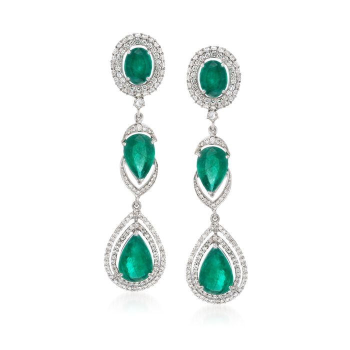 12.60 ct. t.w. Emerald and 2.59 ct. t.w. Diamond Drop Earrings in 18kt White Gold, , default