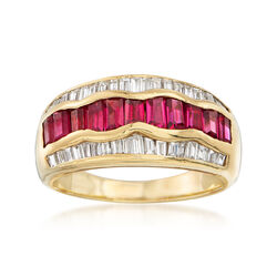 C. 1980 Vintage 1.35 ct. t.w. Ruby and .55 ct. t.w. Diamond Ring in 18kt Yellow Gold, , default