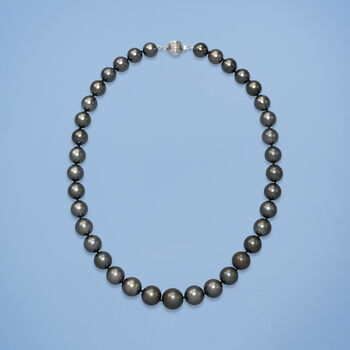 10-13mm Black Cultured Tahitian Pearl Necklace with 14kt White Gold, , default
