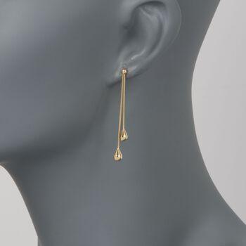 14kt Yellow Gold Linear Double Teardrop Dangle Earrings, , default