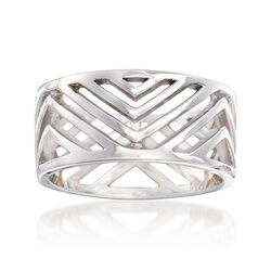 Sterling Silver Openwork Chevron Ring, , default