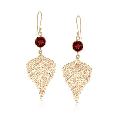 4.00 ct. t.w. Garnet Leaf Drop Earrings in 18kt Gold Over Sterling