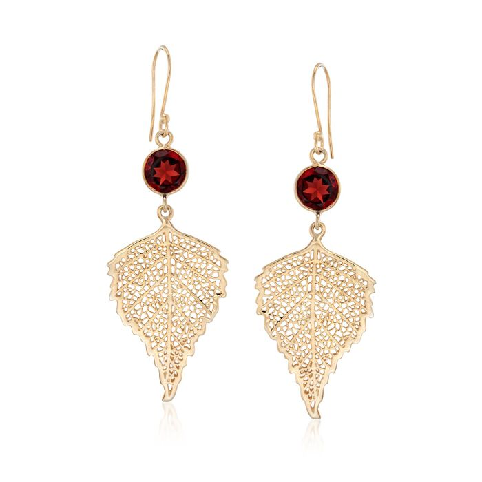 4.00 ct. t.w. Garnet Leaf Drop Earrings in 18kt Gold Over Sterling, , default