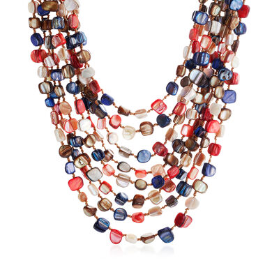 6-15mm Multicolored Mother-Of-Pearl Multi-Strand Necklace, , default
