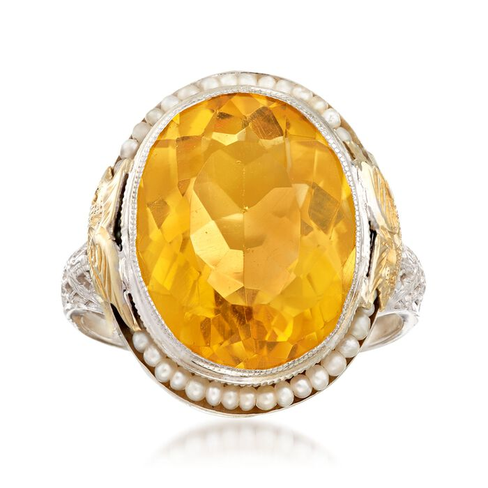 C. 1950 Vintage 8.50 Carat Citrine and Cultured Seed Pearl Ring in 14kt Two-Tone Gold. Size 6.5, , default