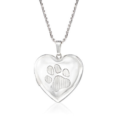Paw Print Memorial and Photo Locket Pendant Necklace in Sterling Silver, , default