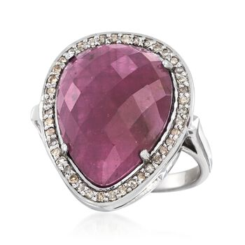 13.00 Carat Pink Sapphire and .37 ct. t.w. Champagne Diamond Ring in Sterling Silver, , default