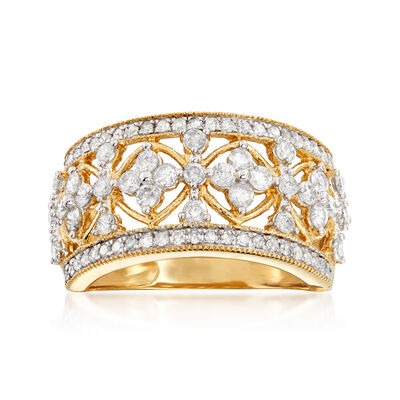 1.00 ct. t.w. Diamond Floral Ring in 14kt Yellow Gold, , default