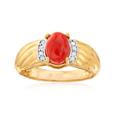 Orange Coral Ring with Diamond Accents in 18kt Gold Over Sterling, , default