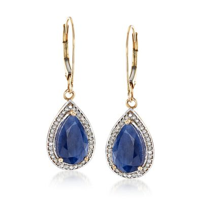 5.00 ct. t.w. Sapphire and .21 ct. t.w. Diamond Drop Earrings in 14kt Yellow Gold, , default