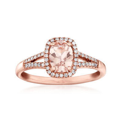 .60 Carat Morganite and .15 ct. t.w. Diamond Ring in 14kt Rose Gold, , default