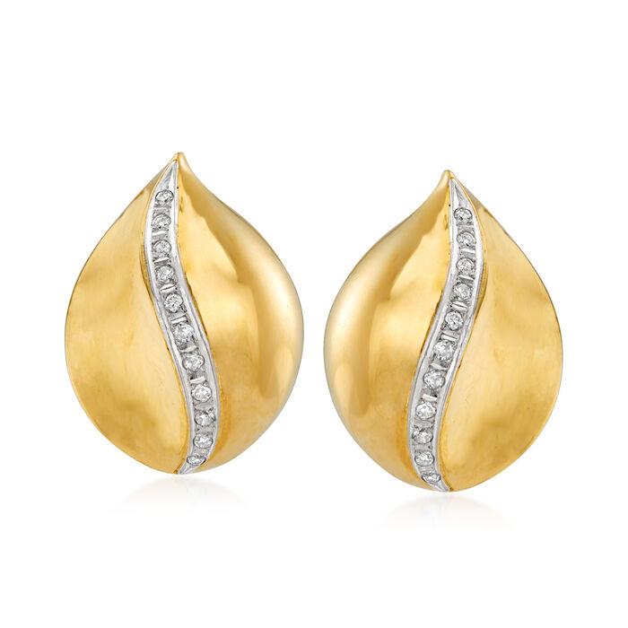 C. 1980 Vintage .35 ct. t.w. Diamond Leaf Clip Earrings in 18kt Yellow Gold