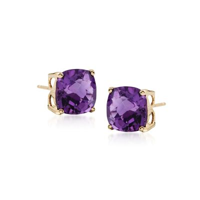 3.90 ct. t.w. Amethyst Stud Earrings in 14kt Yellow Gold, , default