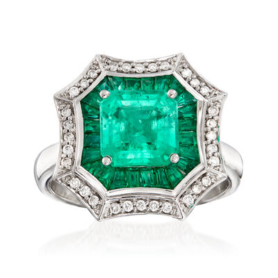 3.20 ct. t.w. Emerald and .17 ct. t.w. Diamond Ring in 14kt White Gold, , default