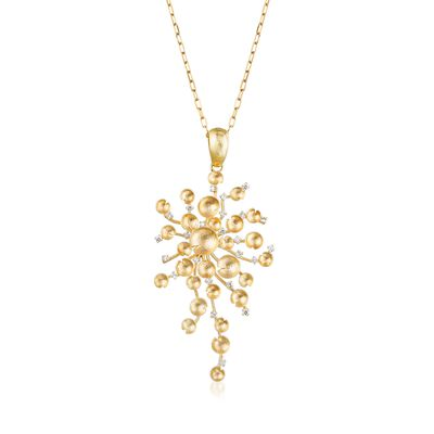 Italian .72 ct. t.w. Diamond Multi-Circle Cluster Pendant Necklace in 14kt Yellow Gold, , default
