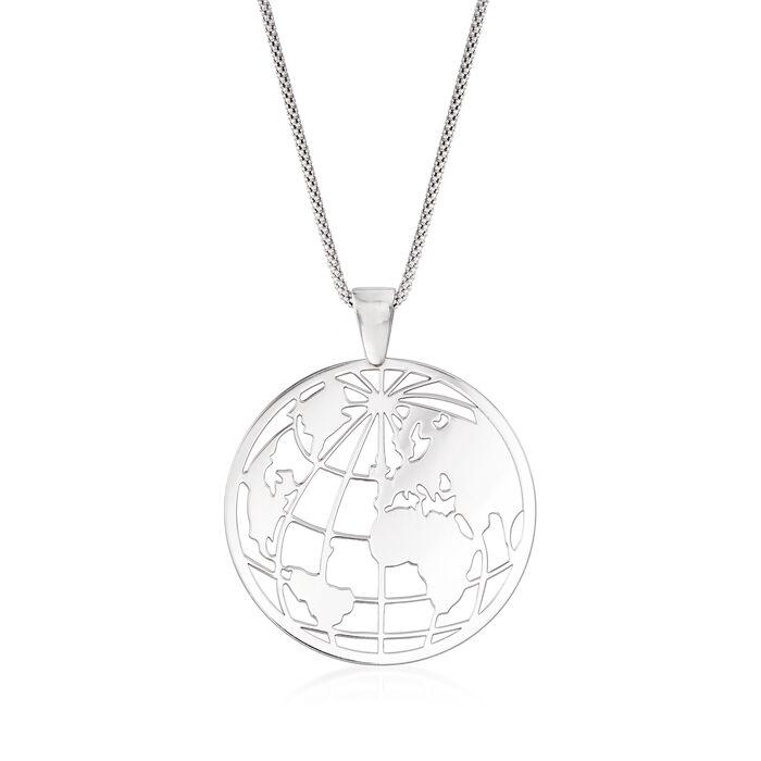 "Italian Sterling Silver Globe Pendant Necklace. 18"", , default"