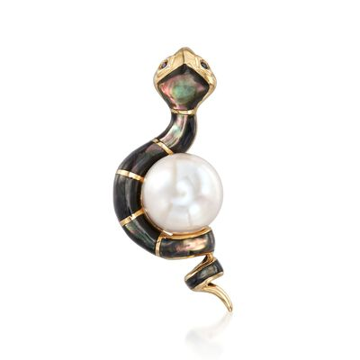 Black Mother-Of-Pearl Snake Pendant with 13mm Cultured Pearl and Sapphire Accents in 14kt Gold, , default