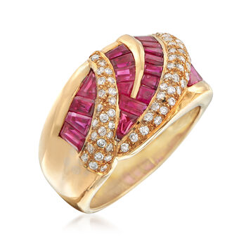 C. 1990 Vintage 2.86 ct. t.w. Ruby and .34 ct. t.w. Diamond Zigzag Ring in 18kt Yellow Gold. Size 6.5