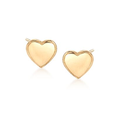 18kt Yellow Gold Heart Stud Earrings, , default
