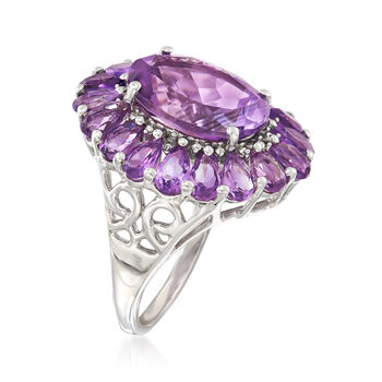 8.50 ct. t.w. Amethyst Frame Ring in Sterling Silver