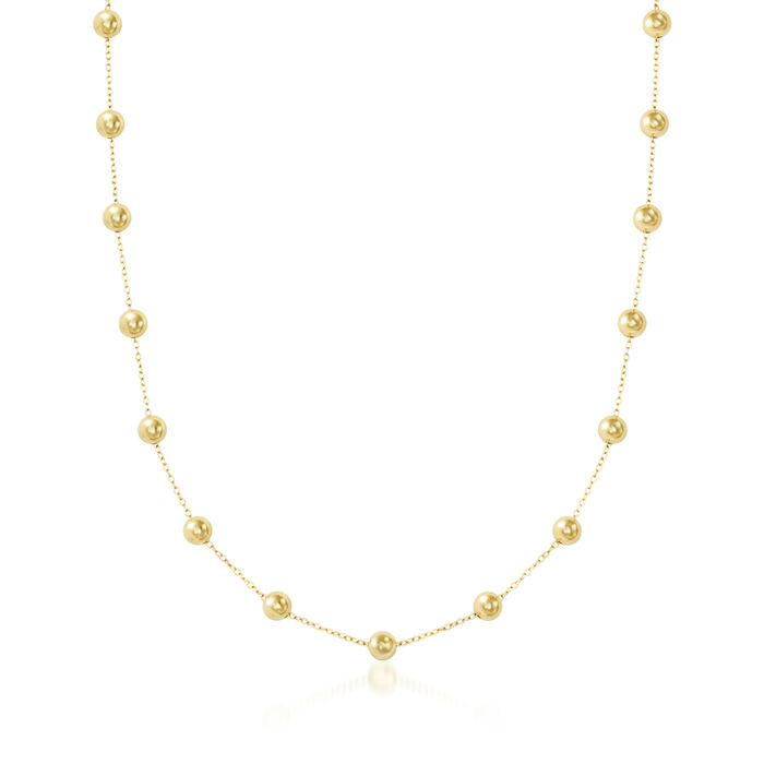 6mm 14kt Yellow Gold Bead Station Necklace