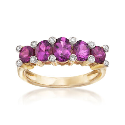 2.00 ct. t.w. Rhodolite Garnet and .12 ct. t.w. Diamond Ring in 14kt Yellow Gold, , default