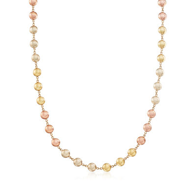 C. 1990 Vintage 14kt Two-Tone Gold Bead Necklace, , default