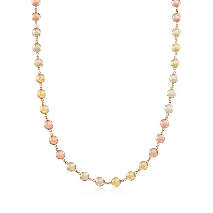 "C. 1990 Vintage 14kt Two-Tone Gold Bead Necklace. 16"", , default"