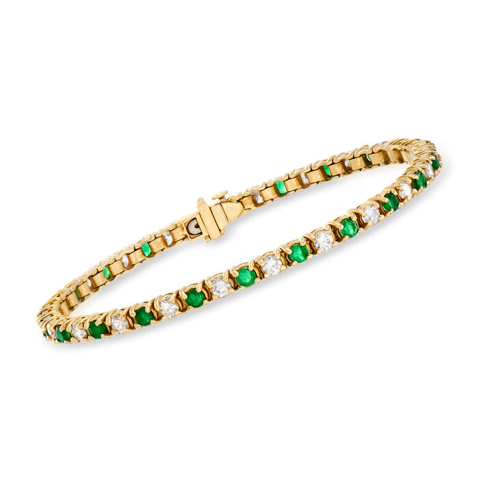 C. 1980 Vintage 2.65 ct. t.w. Diamond and 2.50 ct. t.w. Emerald Line Bracelet in 14kt Yellow Gold. 7""