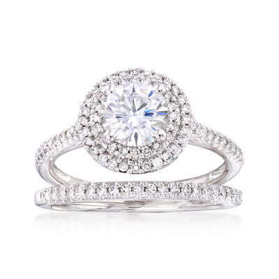 1.00 Carat Synthetic Moissanite and .46 ct. t.w. Diamond Engagement Ring in 14kt White Gold, , default