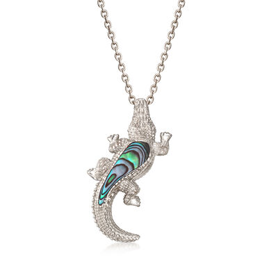 Abalone Shell Alligator Pendant Necklace in Sterling Silver, , default