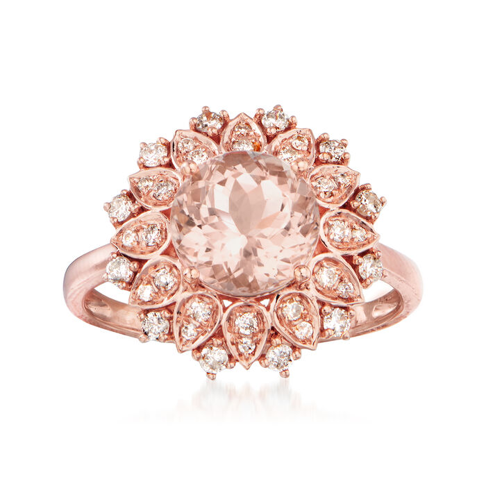 2.00 Carat Morganite and .35 ct. t.w. Diamond Ring in 14kt Rose Gold
