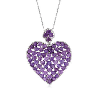 17.00 ct. t.w. Amethyst Heart Pendant Necklace in Sterling Silver