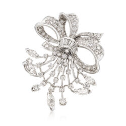 C. 1970 Vintage 2.00 ct. t.w. Diamond Pin Pendant in 18kt White Gold, , default