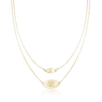 Italian 14kt Yellow Gold Personalized Double Oval Layered Necklace , , default