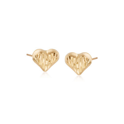 Child's 14kt Yellow Gold Diamond-Cut Heart Stud Earrings, , default