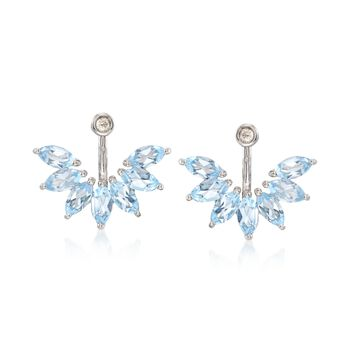 4.34 ct. t.w. White and Blue Topaz Jewelry Set: Earrings and Front-Back Jackets in Sterling Silver, , default