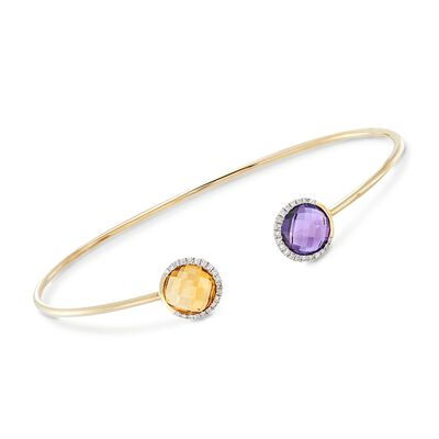 1.90 Carat Citrine and 1.70 Carat Amethyst Cuff Bracelet With .15 ct. t.w. Diamonds in 14kt Yellow Gold, , default